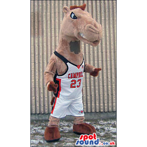 Brown Camel Mascot Wearing Basketball Sports Clothes - Custom