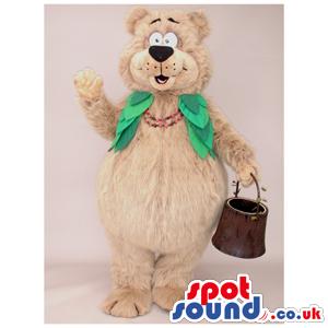 Beige Lady Bear Animal Plush Mascot With Green Vest - Custom