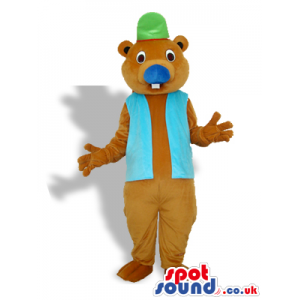 Otter Or Beaver Mascot With A Vest And A Green Hat - Custom