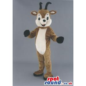 Cute red nose reindeer mascot looking happy on this Christmas -