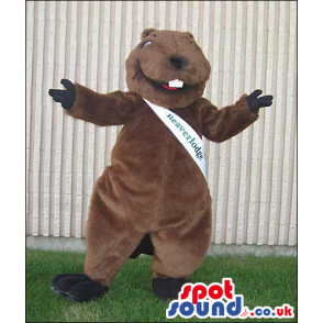 Brown Beaver Animal Plush Mascot With A White Sash With Text -