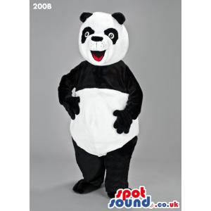 Cute panda mascot with his mouth open giving a happy look -