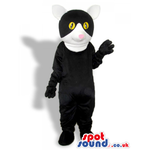 Black Creature Mascot With A Round Head And White Mouth -