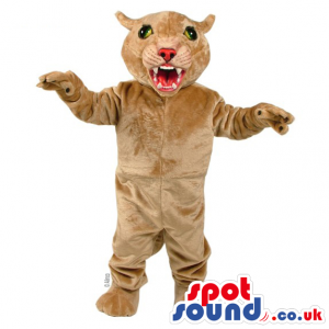 Furious Wildcat Mascot In Beige Showing Its Sharp Teeth -
