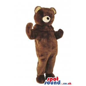 Brown bear mascot standing with his hands wide open - Custom