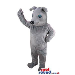 Cute grey puppy mascot standing to say hi to you - Custom