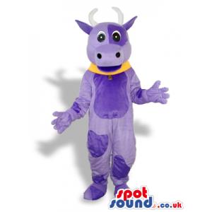 Purple Cow Animal Plush Mascot With A Yellow Collar - Custom