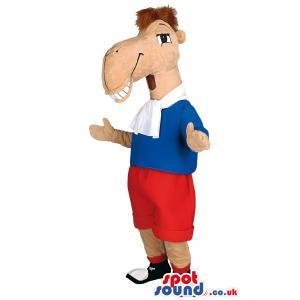 Stylish horse mascot with shote,tshirt and a hair cut - Custom