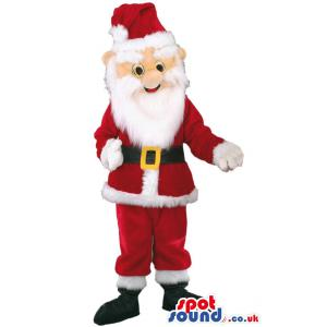 Santa clause mascot with his merry costume ready to slay -