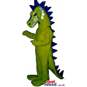 Original Terrifying Green Dragon Mascot With A Blue Spikes -