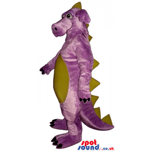 Purple Dragon Plush Mascot With A Beige Belly And Spikes -
