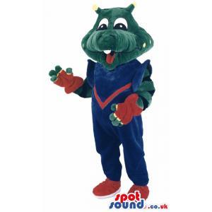 Big green friendly crocodile mascot with red hair - Custom