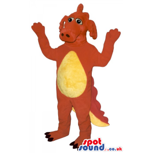 Customizable Red Dragon Plush Mascot With A Yellow Belly -