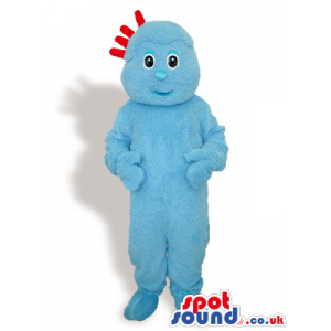 Customizable All Blue Plush Mascot With Four Red Hairs - Custom