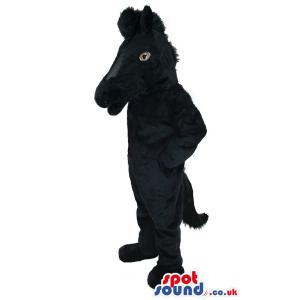 Black horse mascot looking so serious with his pose - Custom