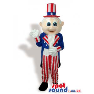 Uncle Sam Plush Mascot Wearing American Flag Garments - Custom