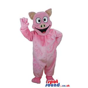 Pink piggy mascot with his hand waving and saying hi - Custom