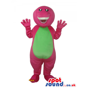 Funny Pink Dinosaur Plush Mascot With A Green Belly - Custom