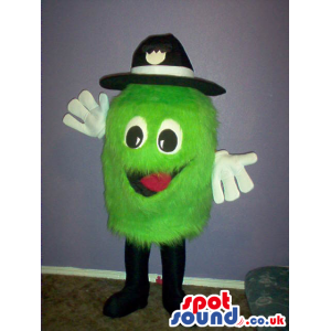 Customizable Green Hairy Plush Small Round Mascot With A Hat -