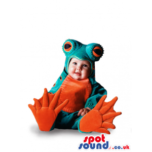 Cute Baby Size Green And Orange Frog Plush Costume - Custom