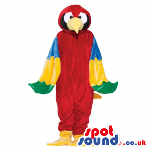 Red Colorful Parrot Bird Plush Mascot With Yellow Beak - Custom