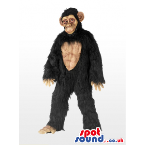 Very Expressive Black Gorilla Plush Hairy Mascot With Belly -