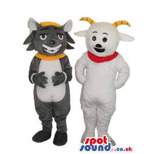 Two Original Goat And Cat Animal Plush Couple Mascots - Custom
