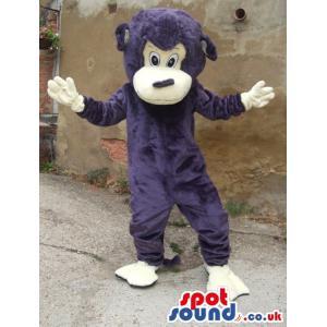 Purple monkey mascot with hands up looking happy - Custom