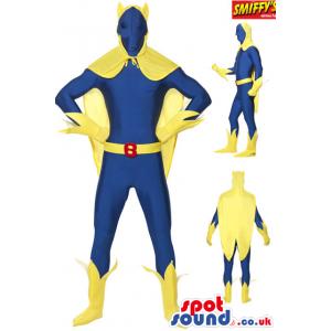 Cool Yellow And Blue Super Hero Plush Mascot Disguise - Custom