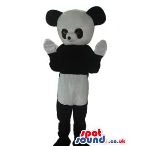 Cute Panda Bear Plush Mascot With Big Round Head And White Paws