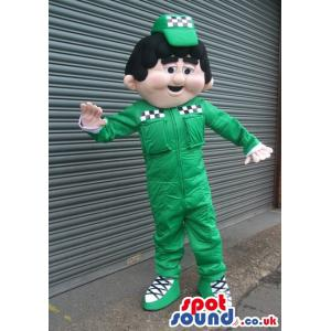Dancing green colour funny boy mascot with a very cute cap -