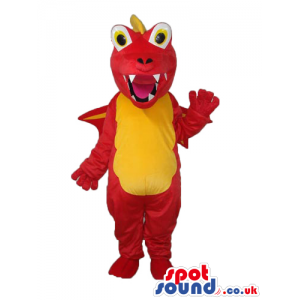 Red Monster Plush Mascot With A Yellow Belly And Eyes - Custom