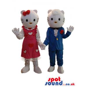 Kitty Cat Couple Plush Mascot Wearing Boy And Girl Garments -