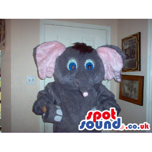 Cute Grey Elephant Plush Mascot With Pink Ears And Blue Eyes -