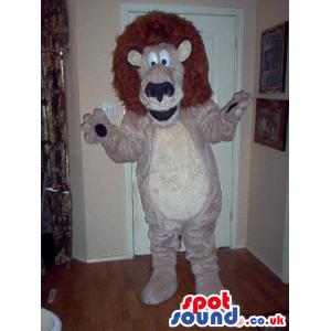 Cartoon Cute Beige Lion Animal Plush Mascot With Brown Hair -