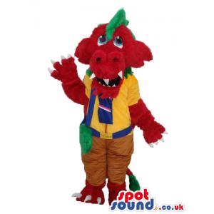 Red Monster Plush Mascot Wearing Yellow Scout Boy Garments -