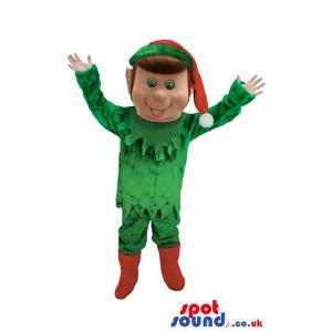 Boy mascot in green costume and red hat and red boots - Custom