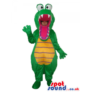Green Crocodile Mascot Or Disguise With Popping Eyes - Custom