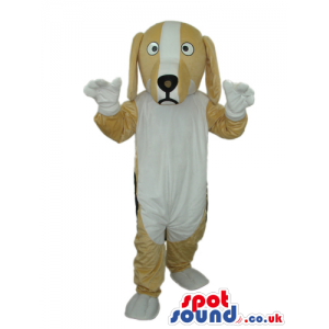 Adorable White And Beige Dog Pet Plush Mascot With Cute Face -