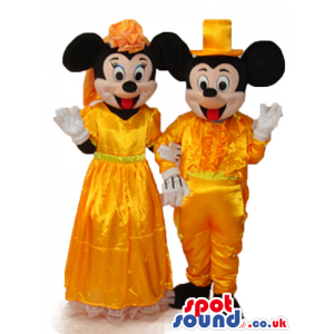 Mickey Mouse Disney Character With Golden Shinny Garments -