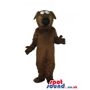Cartoon Brown Dog Plush Mascot With Black Nose And Bent Ears -