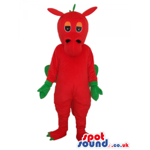 Red Monster Plush Mascot With Green Hands And Wings - Custom