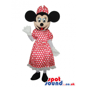 Minnie Mouse Disney Character Mascot With Dots Dress - Custom