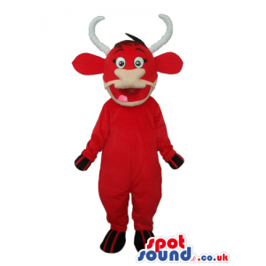 Customizable Red Bull Animal Mascot With White Curved Horns -