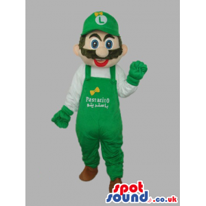 Luigi Super Mario Bros. Character With Green Overalls With Text
