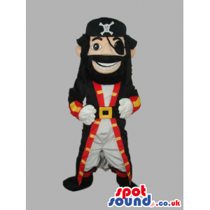 Human Pirate Character Mascot With Red And Black Garments -