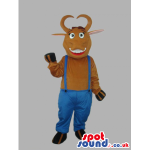 Brown Cow Animal Plush Mascot With Blue Overalls - Custom
