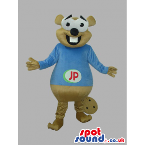 Beige Otter Animal Plush Mascot With A Blue T-Shirt With Logo -
