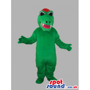 Green Dragon Plush Mascot With Red Tongue And Cap - Custom