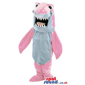 Pink colour shark mascot with open mouth showing his sharp